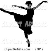 Black Ballerina Silhouette Dancing with Her Arms out and One Leg up