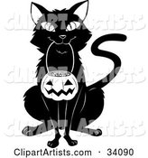 Black Cat Sitting and Carrying a Pumpkin Basket Full of Candy Corn in Its Mouth on Halloween