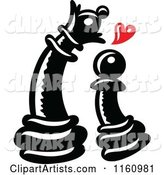 Black Chess Pawn Piece in Love with a Queen