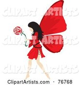 Black Haired Female Fairy with Red Wings, Carrying a Flower