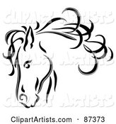 Black Line Art Horse Head with a Blowing Mane