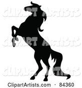 Black Rearing Horse Silhouette