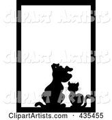 Black Silhouette Cat and Dog Pet Frame with White Space and a Black Border
