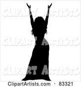 Black Silhouette of a Female Performer Holding up Her Arms