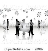Black Silhouetted Business Men and Women Standing on a Reflective Surface, Surrounded by Puzzle Pieces, Symbolizing Problem Solving, Teamwork and Solutions