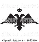 Black Silhouetted Double Headed Eagle and Crown