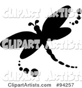 Black Silhouetted Dragonfly Logo or Icon