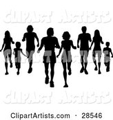 Black Silhouetted Families Jogging and Walking Together