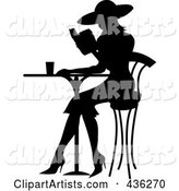 Black Silhouetted French Woman Reading a Book at a Bistro Table