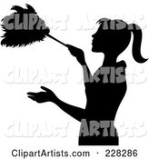 Black Silhouetted Maid Dusting with a Feather Duster