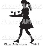 Black Silhouetted Maid or Waitress Woman Tidying up Cocktail Glasses