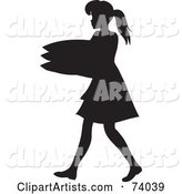 Black Silhouetted Maid Woman Carrying a Stack of Pillows