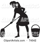 Black Silhouetted Maid Woman Mopping a Floor