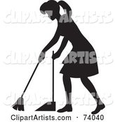 Black Silhouetted Maid Woman Sweeping a Floor
