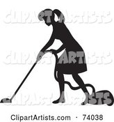 Black Silhouetted Maid Woman Vacuuming a Floor