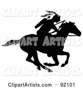 Black Silhouetted Native American with a Bow and Arrows, Riding on a Running Horse