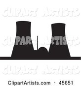 Black Silhouetted Nuclear Power Facility with Cooling Towers