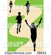 Black Silhouetted Runner Holding His Arms up While Crossing the Finish Line, His Competitors Behind Him on a Track