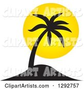 Black Tropical Silhouetted Palm Tree and Yellow Sunset