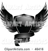 Black Winged Shield with a Blank Banner