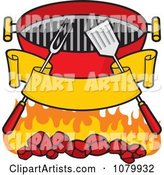 Blank Banner Charcoal Grill Utensils and Flames