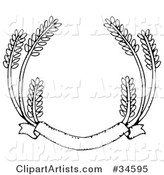 Blank Banner with Strands of Wheat