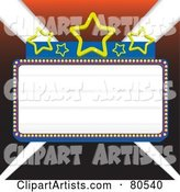 Blank Marquee Sign with Blue Borders and Stars, over Lights - Version 2