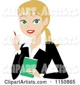 Blond Businesswoman with a Pen and Notepad