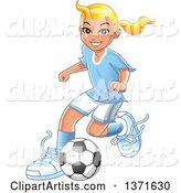 Blond Caucasian Girl Playing Soccer