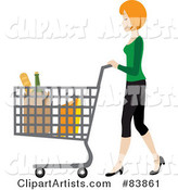 Blond Caucasian Woman Pushing Bagged Groceries in a Shopping Cart