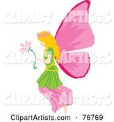 Blond Female Fairy with Pink Wings, Carrying a Flower