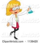 Blond Scientist Girl Holding a Flask