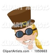 Blond Steampunk Woman in a Hat and Glasses