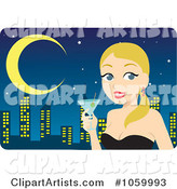 Blond Woman Holding a Cocktail Against a City Skyline