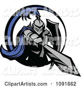 Blue and Gray Knight Stabbing with a Sword