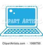 Blue and White Laptop Icon