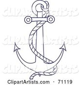 Blue and White Nautical Anchor with a Rope