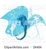 Blue and White Seahorses with Scrolls and Bursts, Swimming in Blue Water over White
