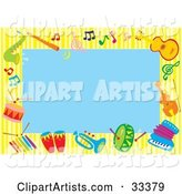Blue Background Bordered by Colorful Music Notes and Instruments