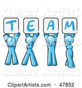 Blue Design Mascot Group Holding up Team Signs
