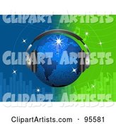 Blue Disco Globe Wearing Headphones over a Green and Blue Equalizer Background