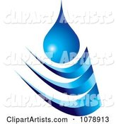 Blue Droplet and Wave Logo
