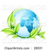Blue Earth Globe Circled by Green Dew Covered Leaves
