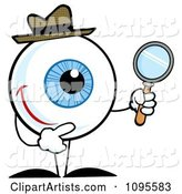 Blue Eyeball Character Detective Holding a Magnifying Glass
