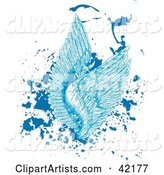 Blue Feathered Angel Wings on Splattered Grunge