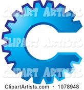 Blue Gear Cog in the Shape of the Letter C