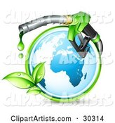 Blue Globe Circled by a Green Vine, with a Large Nozzle Dripping Green Bio Fuel