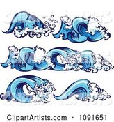 Blue Ocean Wave Borders and Design Elements