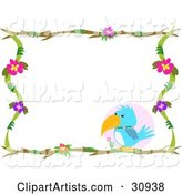 Blue Parrot Perched in the Lower Corner of a Stationery Border of Branches and Flowers