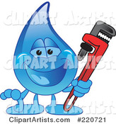 Blue Water Droplet Character Holding a Monkey Wrench